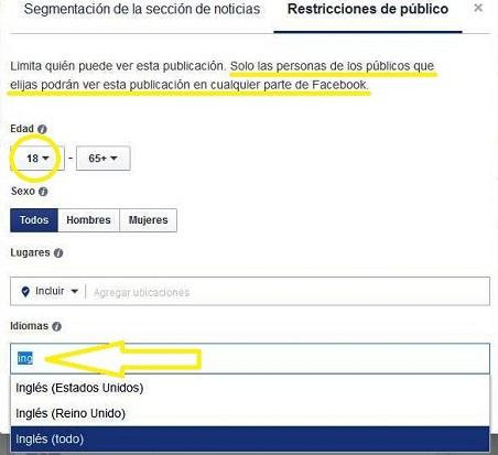 Segmentar en facebook por idioma